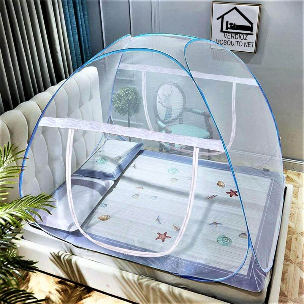 VERDIOZ WITH DEVICE Foldable Poly Cotton Double Bed Mosquito Net